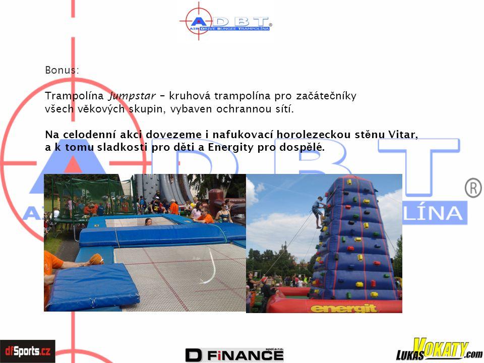 Bonus: Trampolína Jumpstar – kruhová trampolína pro za č áte č níky všech v ě kových skupin, vybaven ochrannou sítí. Na celodenní akci dovezeme i nafu