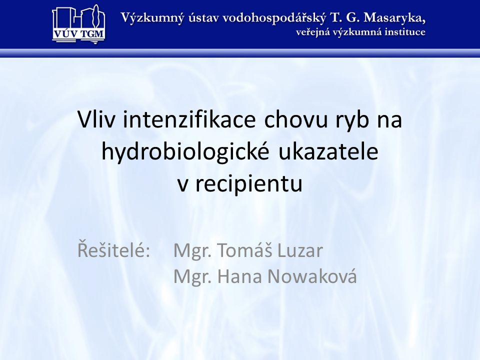 Vliv intenzifikace chovu ryb na hydrobiologické ukazatele v recipientu Řešitelé:Mgr. Tomáš Luzar Mgr. Hana Nowaková