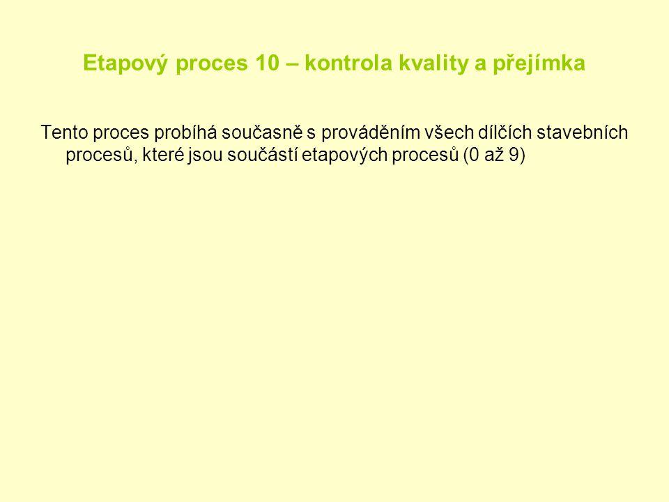 Etapový proces 10 – kontrola kvality a přejímka Tento proces probíhá současně s prováděním všech dílčích stavebních procesů, které jsou součástí etapo