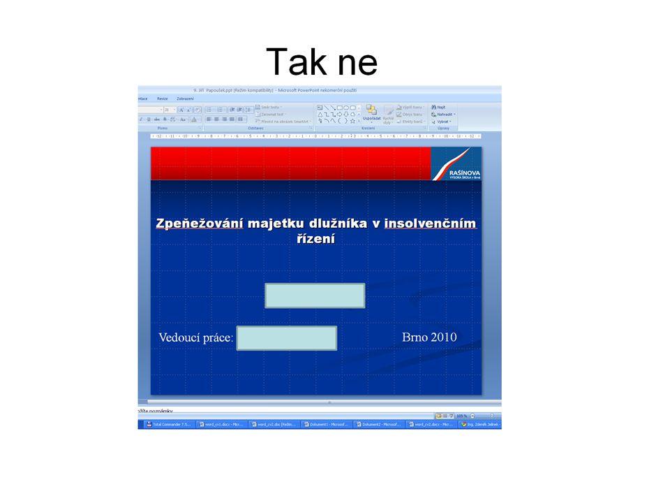 """Technické provedení Úprava textu – postup při tvorbě práce Práci můžu tvořit tak, že : 1.Nejprve si napíšu osnovu s použitím výběru stylů z panelu nástrojů formát – tedy nadpisy uvažovaných kapitol, podkapitol a podobně s již předdefinovanými formáty 2.K názvům kapitol připisuji postupně text, pokud jsem ztratil myšlenku, kapitolu či podkapitolu vypustím a celý dokument se mi automaticky ve všech úrovních přečísluje 3.Obsah si nechám až úplně nakonec – vygeneruji ho z příkazu """"Vložit , """"Odkaz , """"Rejstřík a seznamy a záložka """"Obsah"""