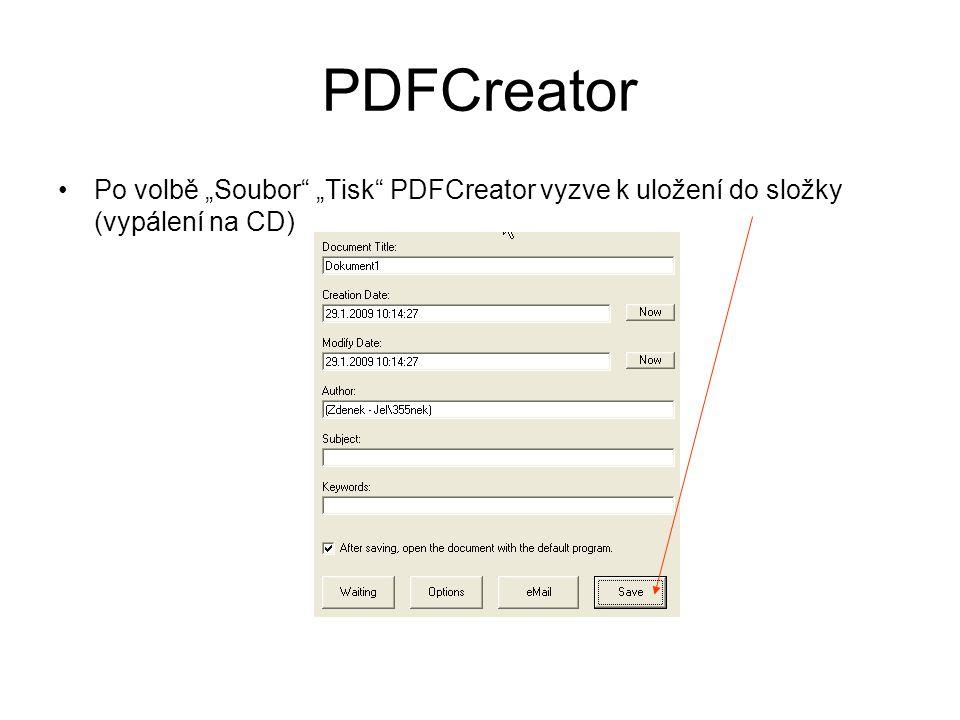 """PDFCreator •Po volbě """"Soubor """"Tisk PDFCreator vyzve k uložení do složky (vypálení na CD)"""