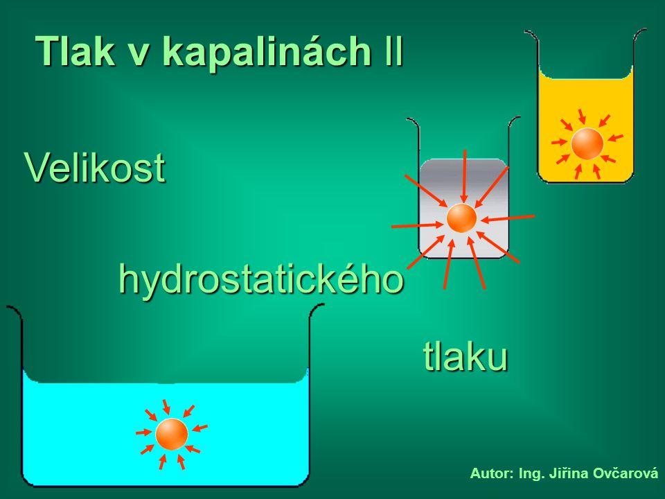 Autor: Ing. Jiřina Ovčarová Velikost tlaku hydrostatického Tlak v kapalinách II