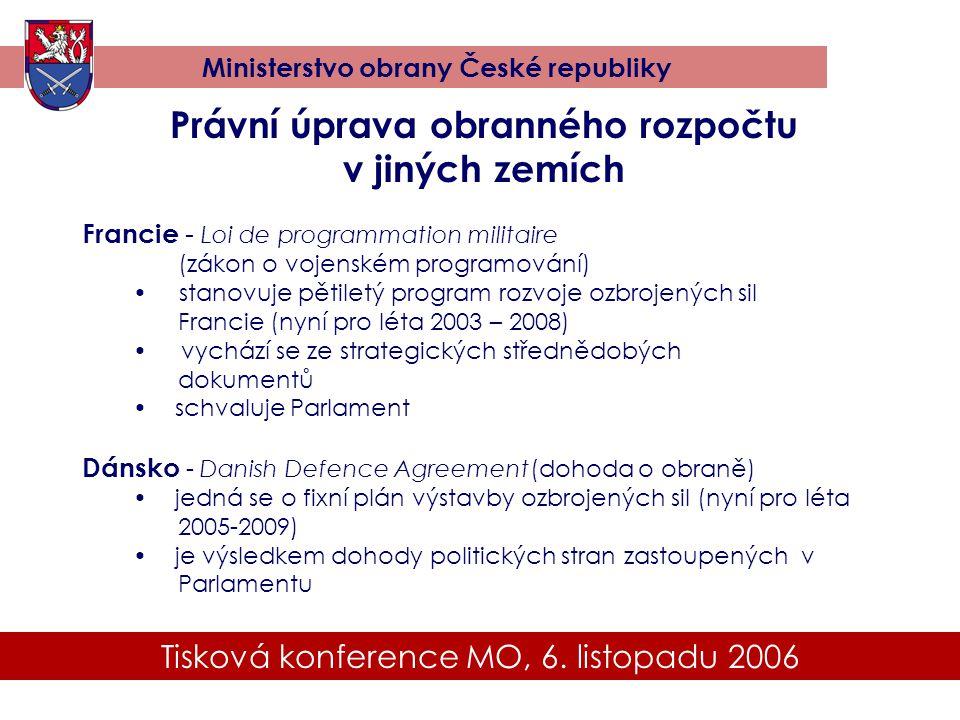 Tisková konference MO, 6. listopadu 2006 Ministerstvo obrany České republiky Právní úprava obranného rozpočtu v jiných zemích Francie - Loi de program