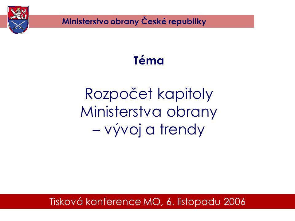 Tisková konference MO, 6. listopadu 2006 Ministerstvo obrany České republiky Téma Rozpočet kapitoly Ministerstva obrany – vývoj a trendy
