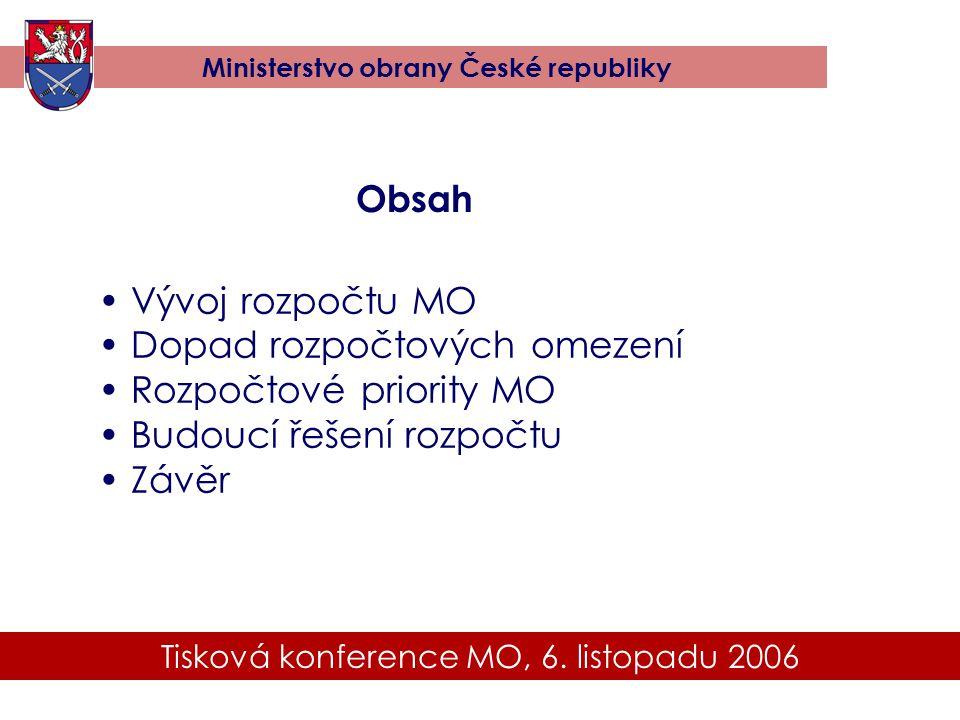 Tisková konference MO, 6. listopadu 2006 Ministerstvo obrany České republiky Obsah • Vývoj rozpočtu MO • Dopad rozpočtových omezení • Rozpočtové prior