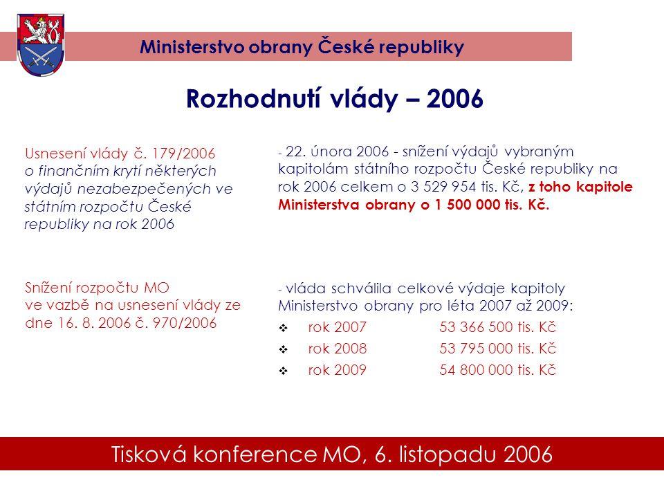 Tisková konference MO, 6. listopadu 2006 Ministerstvo obrany České republiky Rozhodnutí vlády – 2006 Usnesení vlády č. 179/2006 o finančním krytí někt