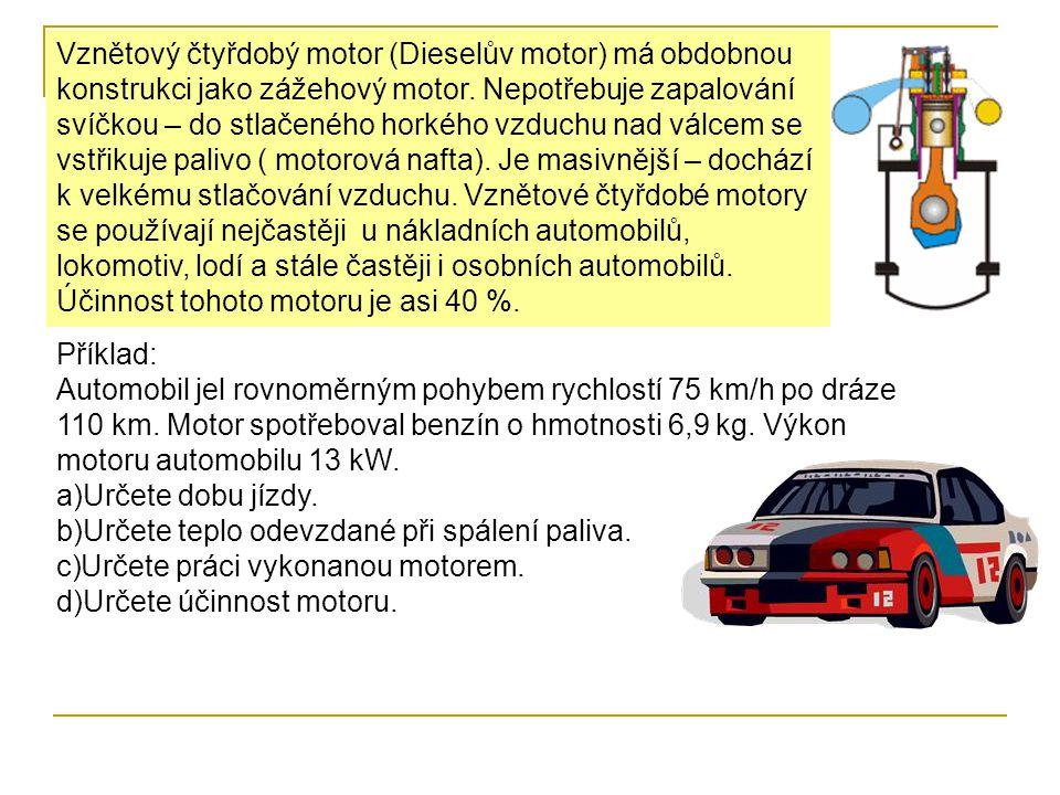 Vznětový čtyřdobý motor (Dieselův motor) má obdobnou konstrukci jako zážehový motor.