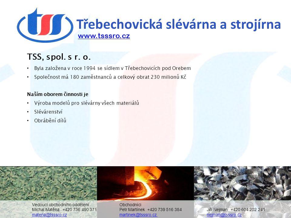 Třebechovická slévárna a strojírna TSS, spol. s r. o. • Byla založena v roce 1994 se sídlem v Třebechovicích pod Orebem • Společnost má 180 zaměstnanc