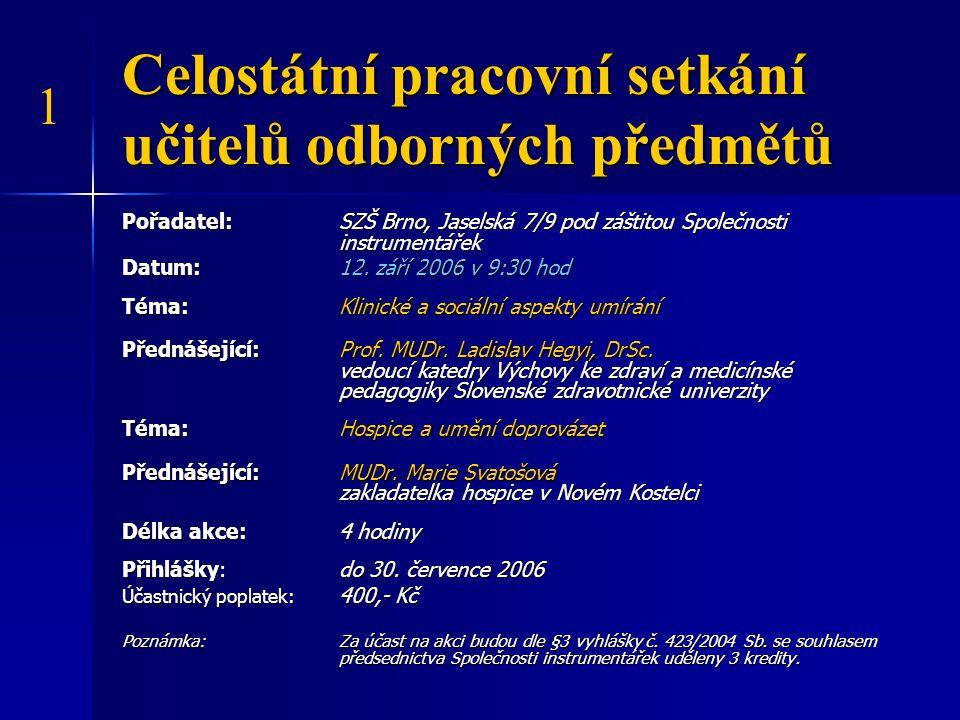 Celostátní konference učitelů anglického jazyka Pořadatel: Oxford University Press a Střední zdravotnická škola, Brno, Jaselská 7/9 Datum: 13.