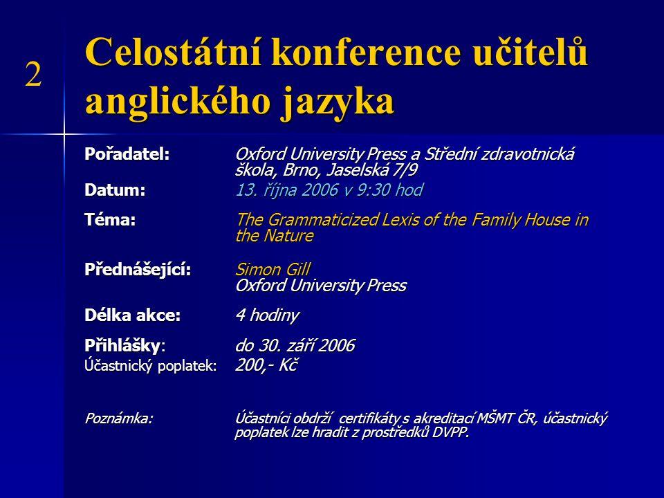 Celostátní pracovní setkání učitelů předmětu Veřejné zdravotnictví a výchova ke zdraví Pořadatel: SZŠ Brno, Jaselská 7/9 pod záštitou Společnosti instrumentářek Datum: 9.