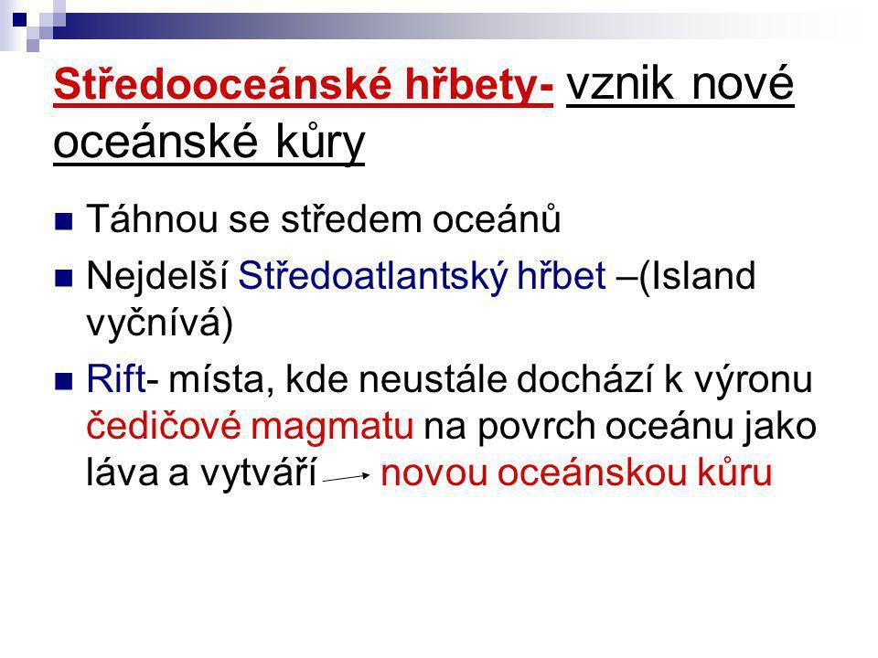 Středooceánské hřbety- vznik nové oceánské kůry  Táhnou se středem oceánů  Nejdelší Středoatlantský hřbet –(Island vyčnívá)  Rift- místa, kde neust