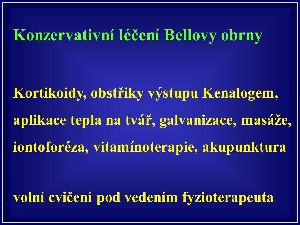 Konzervativní léčení Bellovy obrny Kortikoidy, obstřiky výstupu Kenalogem, aplikace tepla na tvář, galvanizace, masáže, iontoforéza, vitamínoterapie,