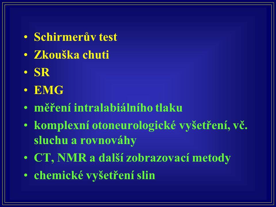 •Schirmerův test •Zkouška chuti •SR •EMG •měření intralabiálního tlaku •komplexní otoneurologické vyšetření, vč. sluchu a rovnováhy •CT, NMR a další z