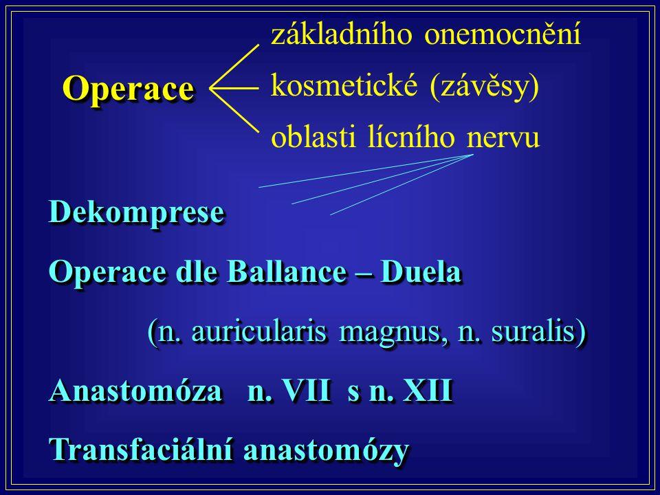 OperaceOperace Dekomprese Operace dle Ballance – Duela (n. auricularis magnus, n. suralis) (n. auricularis magnus, n. suralis) Anastomóza n. VII s n.