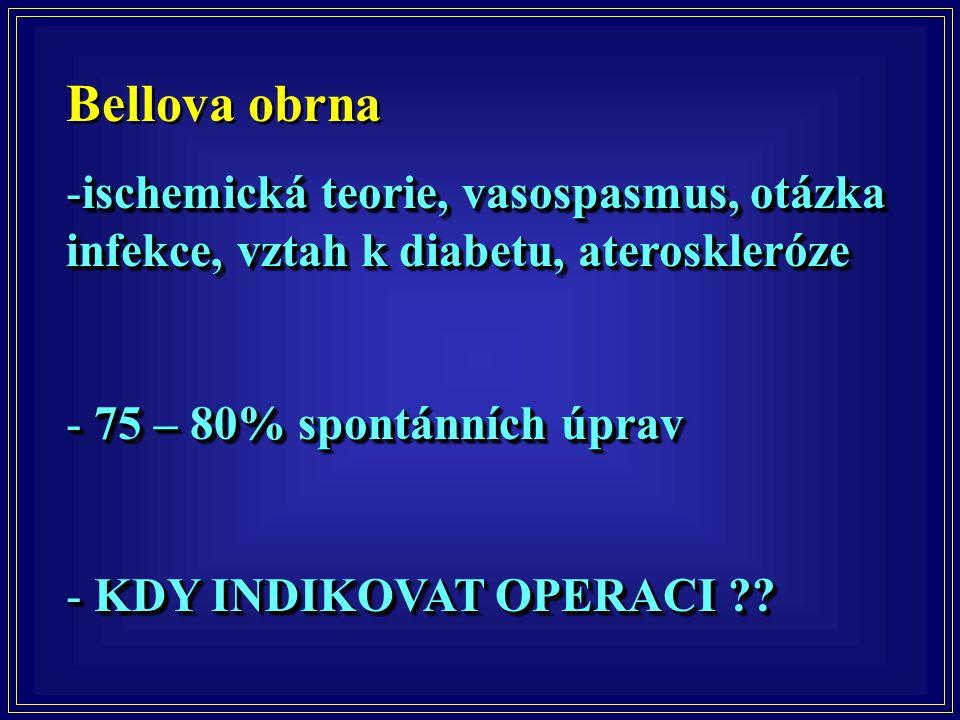 Bellova obrna -ischemická teorie, vasospasmus, otázka infekce, vztah k diabetu, ateroskleróze - 75 – 80% spontánních úprav - KDY INDIKOVAT OPERACI ??