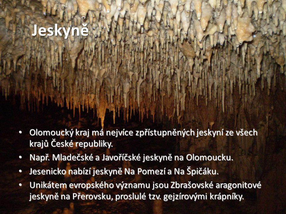 Jeskyně • Olomoucký kraj má nejvíce zpřístupněných jeskyní ze všech krajů České republiky. • Např. Mladečské a Javoříčské jeskyně na Olomoucku. • Jese