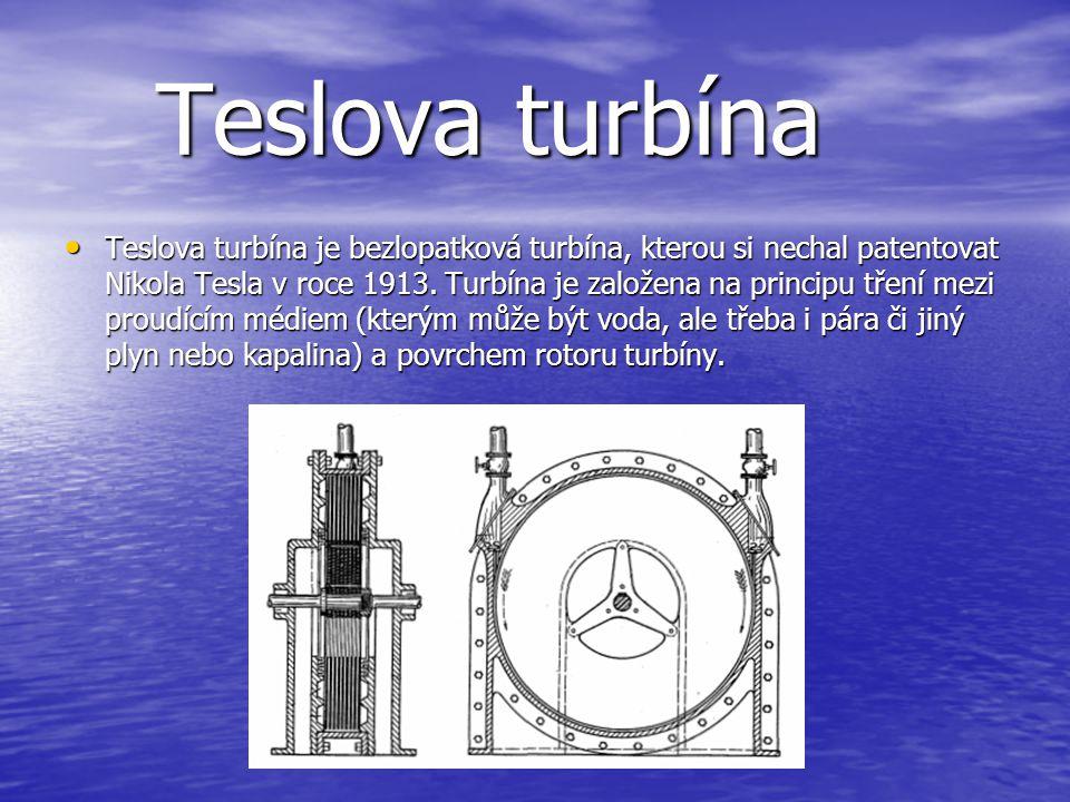 Peltonova turbína • Peltonova turbína je rovnotlaká turbína. Účinnost u malé turbíny je 80 až 85%, u velké 85 až 95%. Peltonova turbína byla vynalezen