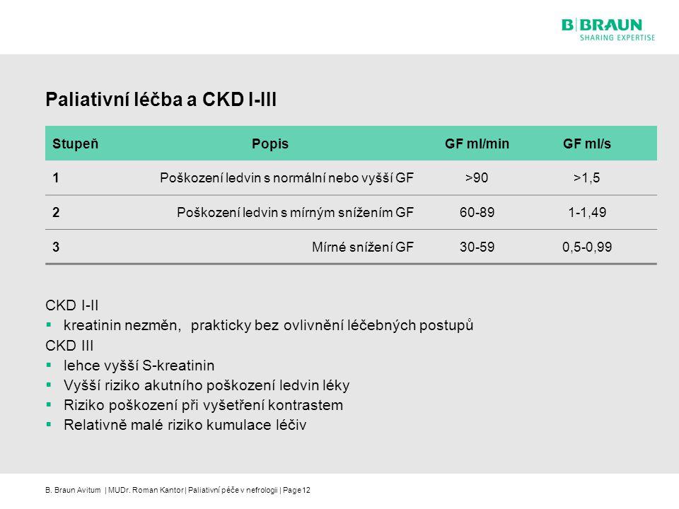 B. Braun Avitum | MUDr. Roman Kantor | Paliativní péče v nefrologii | Page12 Paliativní léčba a CKD I-III CKD I-II  kreatinin nezměn, prakticky bez o