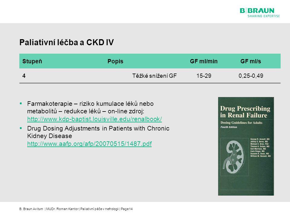 B. Braun Avitum | MUDr. Roman Kantor | Paliativní péče v nefrologii | Page14 Paliativní léčba a CKD IV  Farmakoterapie – riziko kumulace léků nebo me