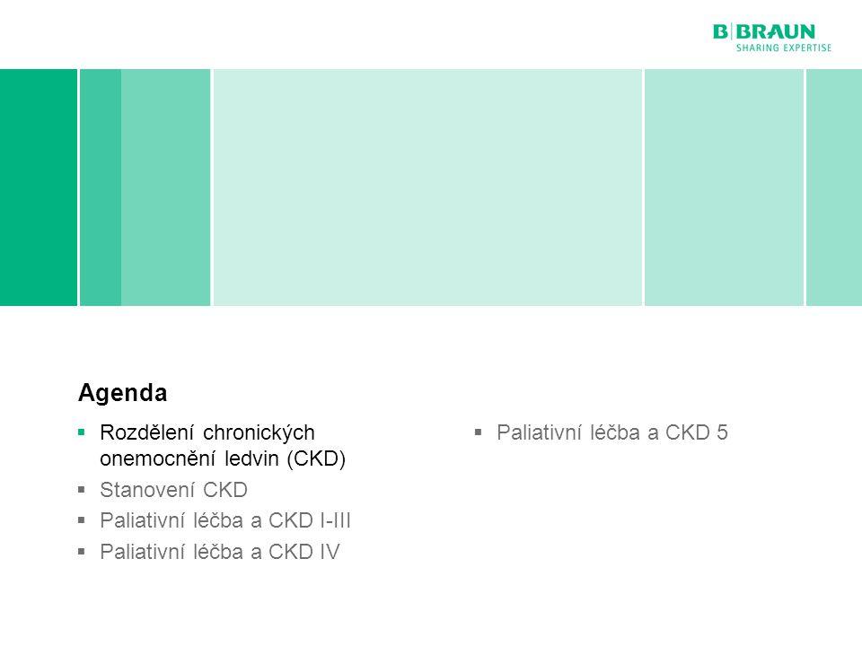B. Braun Avitum | MUDr. Roman Kantor | Paliativní péče v nefrologii | Page Rozdělení chronických onemocnění ledvin (CKD) Agenda  Rozdělení chronickýc