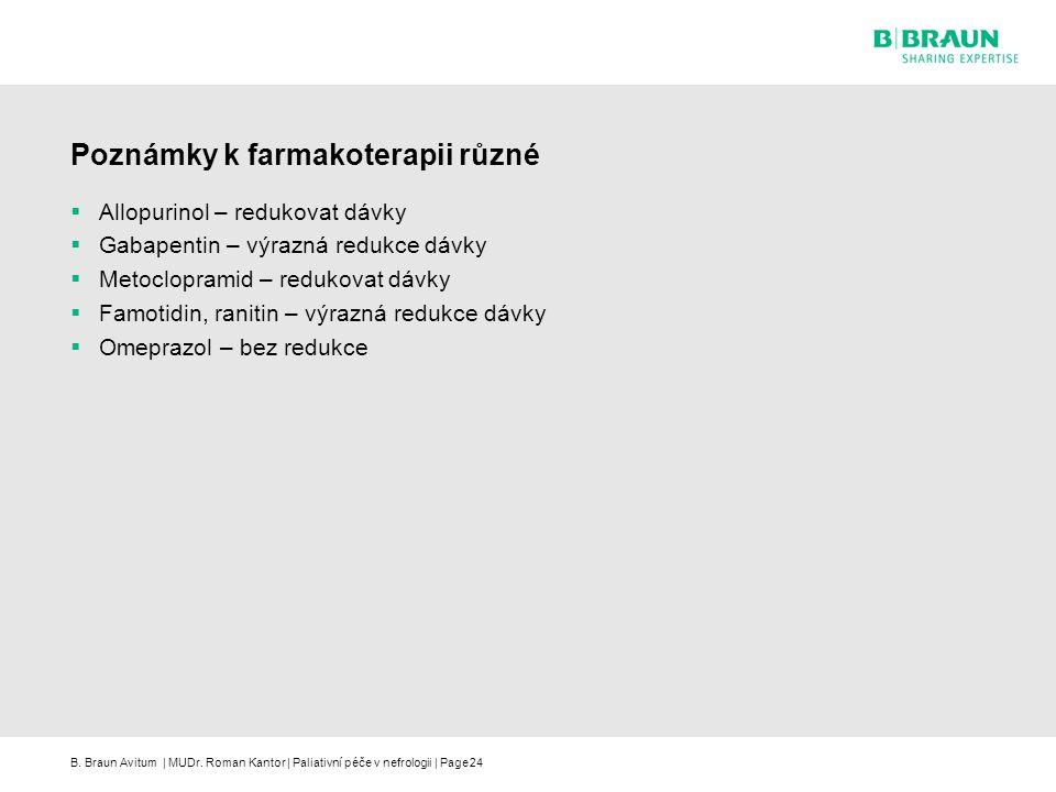 B. Braun Avitum | MUDr. Roman Kantor | Paliativní péče v nefrologii | Page24 Poznámky k farmakoterapii různé  Allopurinol – redukovat dávky  Gabapen