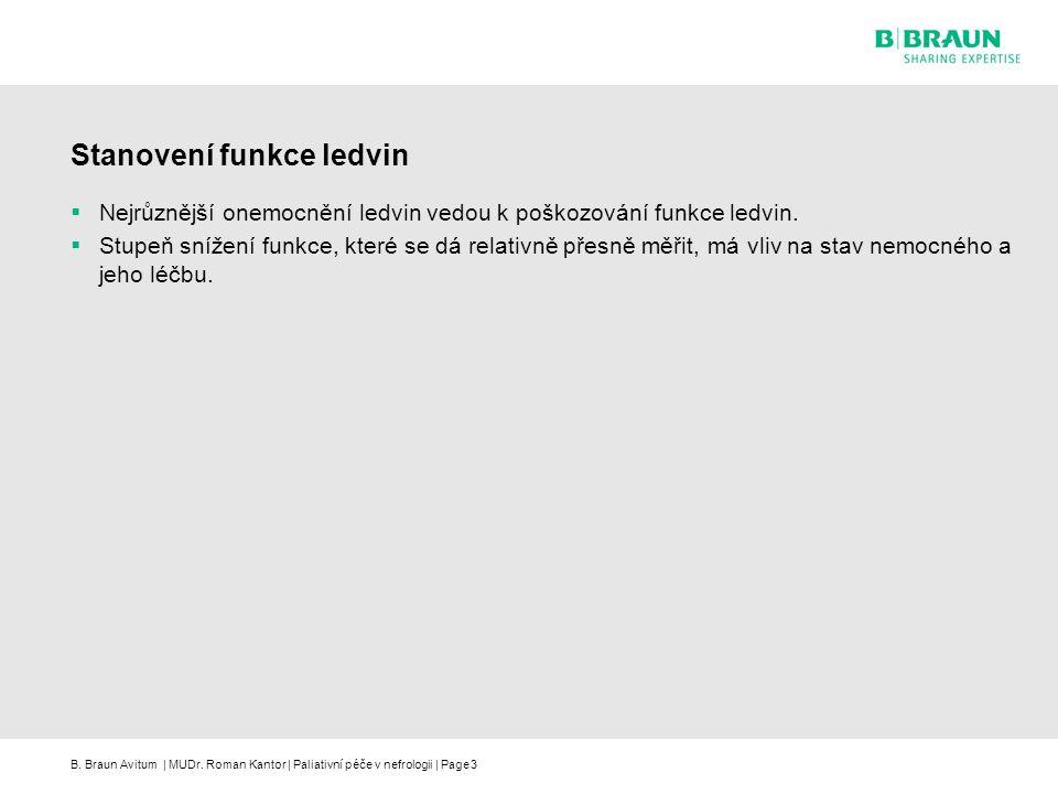 B. Braun Avitum | MUDr. Roman Kantor | Paliativní péče v nefrologii | Page3 Stanovení funkce ledvin  Nejrůznější onemocnění ledvin vedou k poškozován