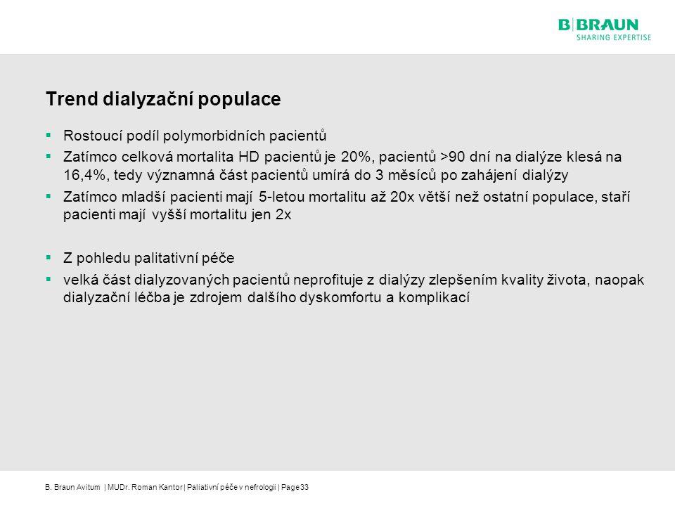 B. Braun Avitum | MUDr. Roman Kantor | Paliativní péče v nefrologii | Page33 Trend dialyzační populace  Rostoucí podíl polymorbidních pacientů  Zatí