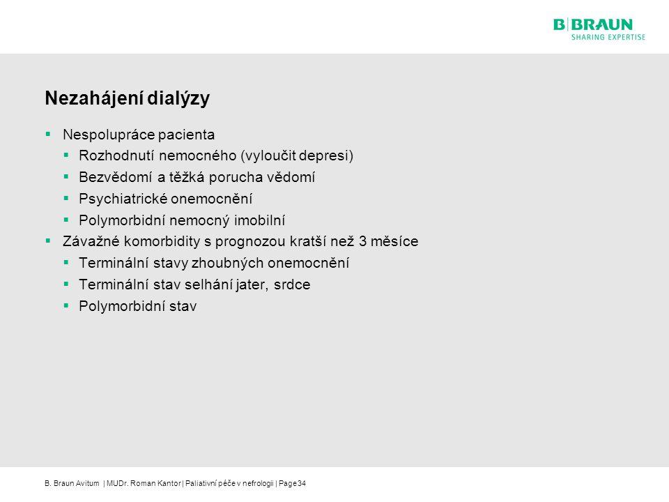 B. Braun Avitum | MUDr. Roman Kantor | Paliativní péče v nefrologii | Page34 Nezahájení dialýzy  Nespolupráce pacienta  Rozhodnutí nemocného (vylouč