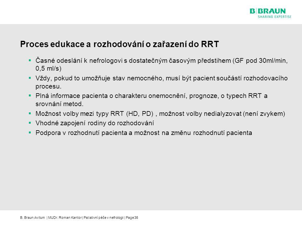 B. Braun Avitum | MUDr. Roman Kantor | Paliativní péče v nefrologii | Page36 Proces edukace a rozhodování o zařazení do RRT  Časné odeslání k nefrolo