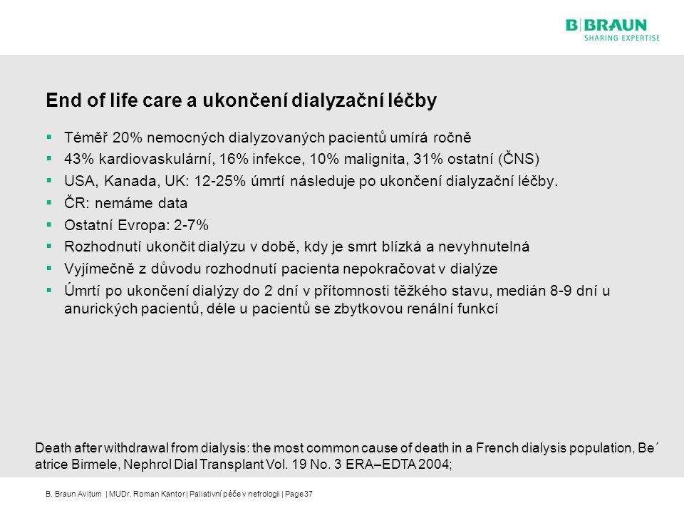B. Braun Avitum | MUDr. Roman Kantor | Paliativní péče v nefrologii | Page37 End of life care a ukončení dialyzační léčby  Téměř 20% nemocných dialyz