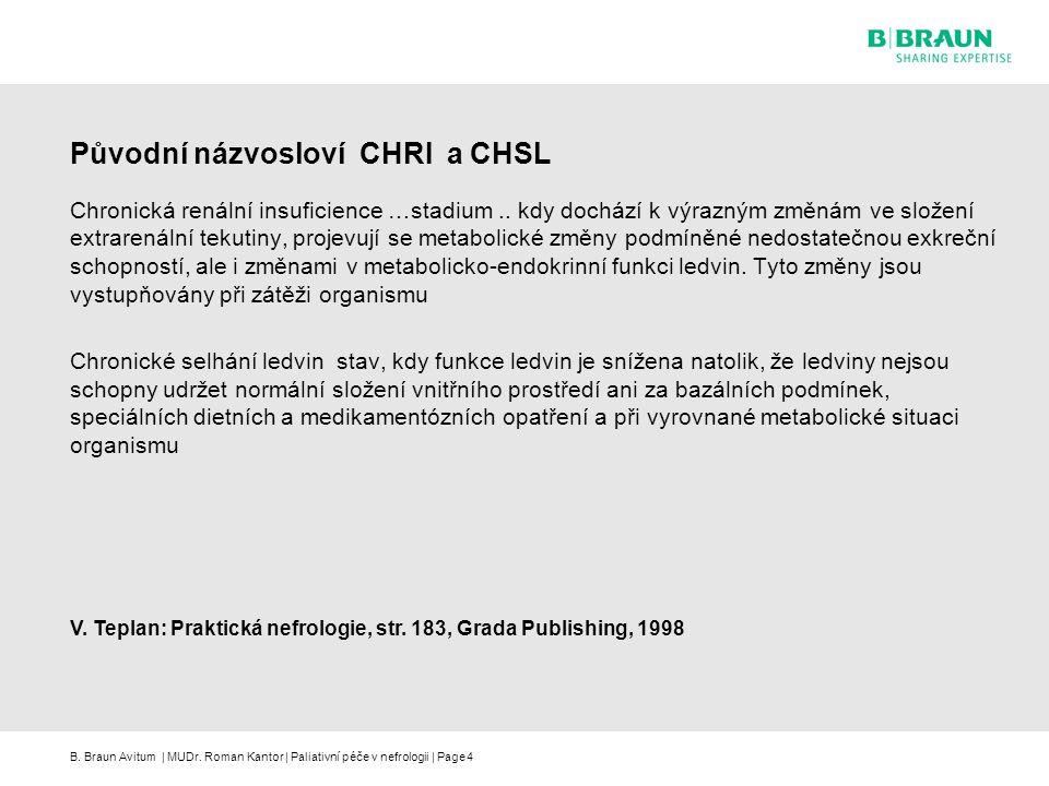 B. Braun Avitum | MUDr. Roman Kantor | Paliativní péče v nefrologii | Page4 Původní názvosloví CHRI a CHSL Chronická renální insuficience …stadium.. k