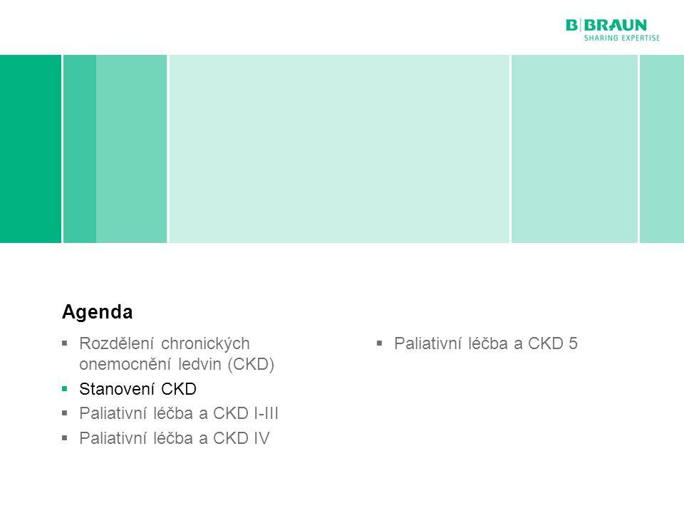 B. Braun Avitum | MUDr. Roman Kantor | Paliativní péče v nefrologii | Page Stanovení CKD Agenda  Rozdělení chronických onemocnění ledvin (CKD)  Stan