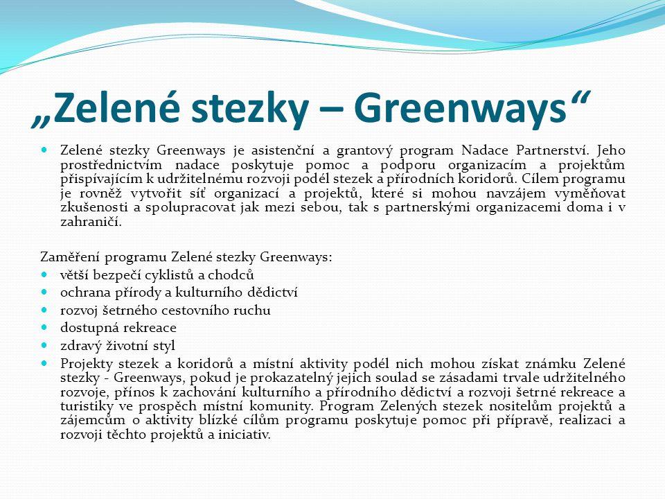 """""""Zelené stezky – Greenways""""  Zelené stezky Greenways je asistenční a grantový program Nadace Partnerství. Jeho prostřednictvím nadace poskytuje pomoc"""