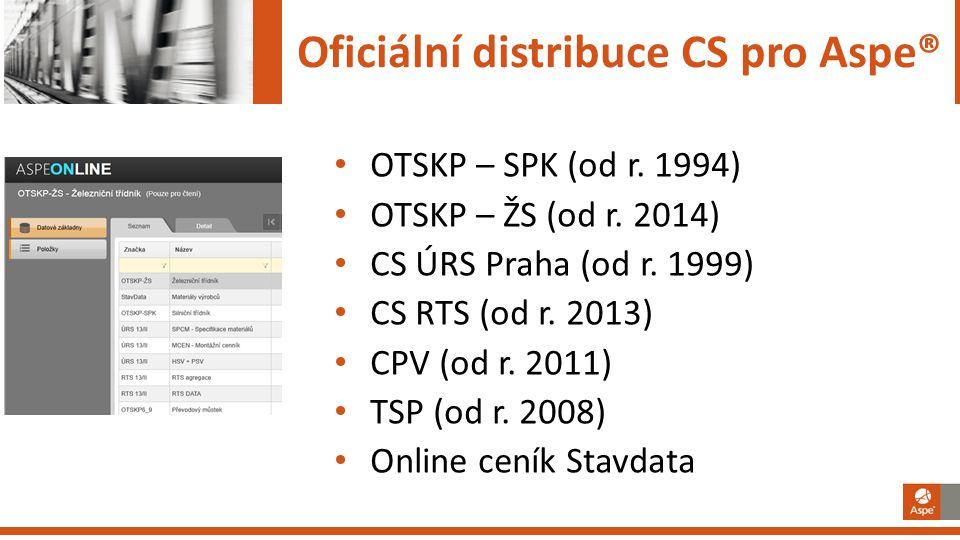 Oficiální distribuce CS pro Aspe® • OTSKP – SPK (od r. 1994) • OTSKP – ŽS (od r. 2014) • CS ÚRS Praha (od r. 1999) • CS RTS (od r. 2013) • CPV (od r.