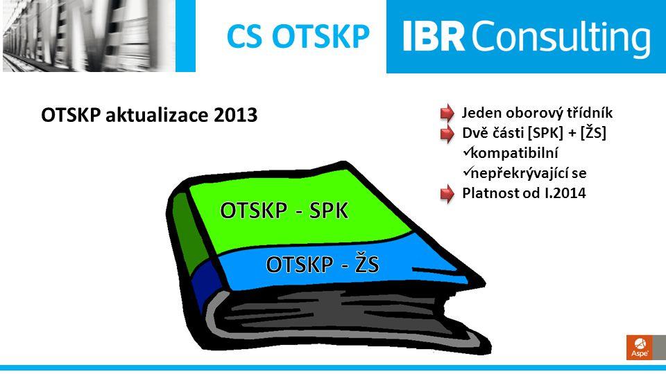 CS OTSKP Aktualizace OTSKP-SPK • Popisovník – stromová struktura vybrané úseky přepracované doplnění písmen • Třídník – položky DZ zrušeno cca 2.000 položek doplněno cca 1.000 nových položek značky zrušených pol.
