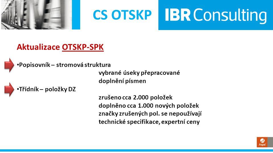 CS OTSKP Aktualizace OTSKP-SPK • Popisovník – stromová struktura vybrané úseky přepracované doplnění písmen • Třídník – položky DZ zrušeno cca 2.000 p