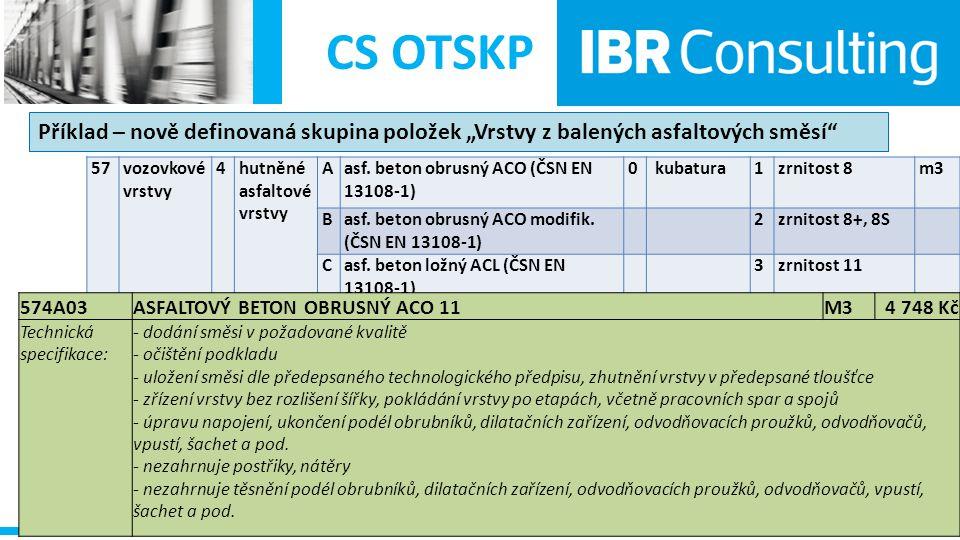 """CS OTSKP Příklad – nově definovaná skupina položek """"Vrstvy z balených asfaltových směsí"""" 57 vozovkové vrstvy 4 hutněné asfaltové vrstvy Aasf. beton ob"""