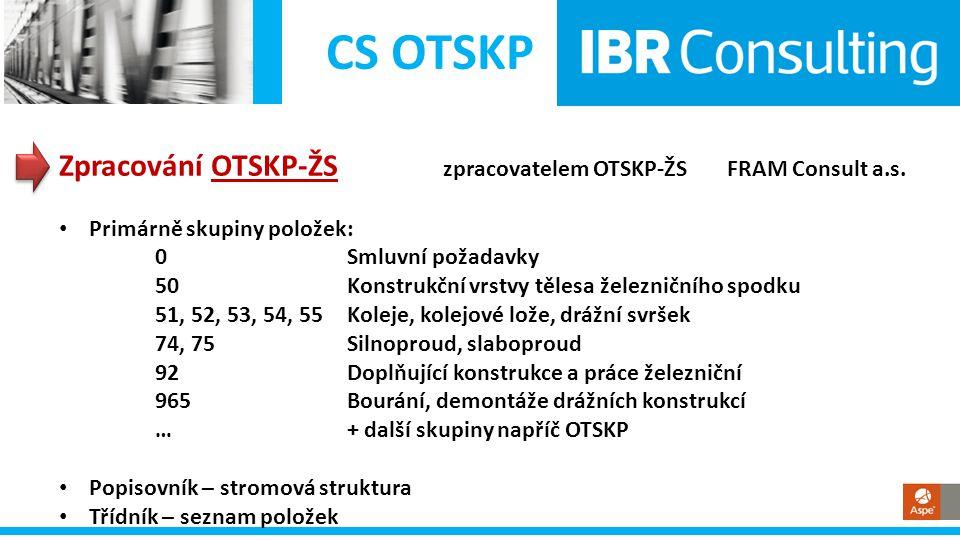 CS OTSKP Zpracování OTSKP-ŽS zpracovatelem OTSKP-ŽS FRAM Consult a.s. • Primárně skupiny položek: 0Smluvní požadavky 50 Konstrukční vrstvy tělesa žele