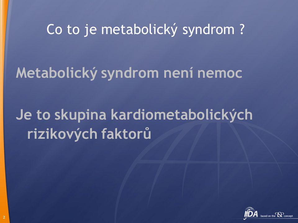 2 Co to je metabolický syndrom ? Metabolický syndrom není nemoc Je to skupina kardiometabolických rizikových faktorů