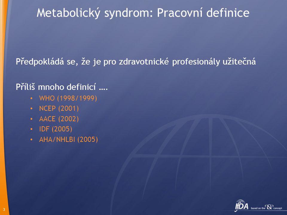3 Metabolický syndrom: Pracovní definice Předpokládá se, že je pro zdravotnické profesionály užitečná Příliš mnoho definicí …. • WHO (1998/1999) • NCE