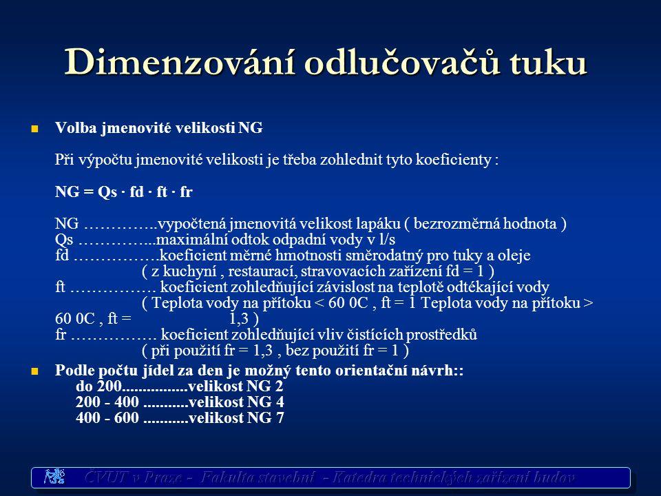 Dimenzování odlučovačů tuku   Volba jmenovité velikosti NG Při výpočtu jmenovité velikosti je třeba zohlednit tyto koeficienty : NG = Qs · fd · ft · fr NG …………..vypočtená jmenovitá velikost lapáku ( bezrozměrná hodnota ) Qs …………...maximální odtok odpadní vody v l/s fd …………….koeficient měrné hmotnosti směrodatný pro tuky a oleje ( z kuchyní, restaurací, stravovacích zařízení fd = 1 ) ft …………….