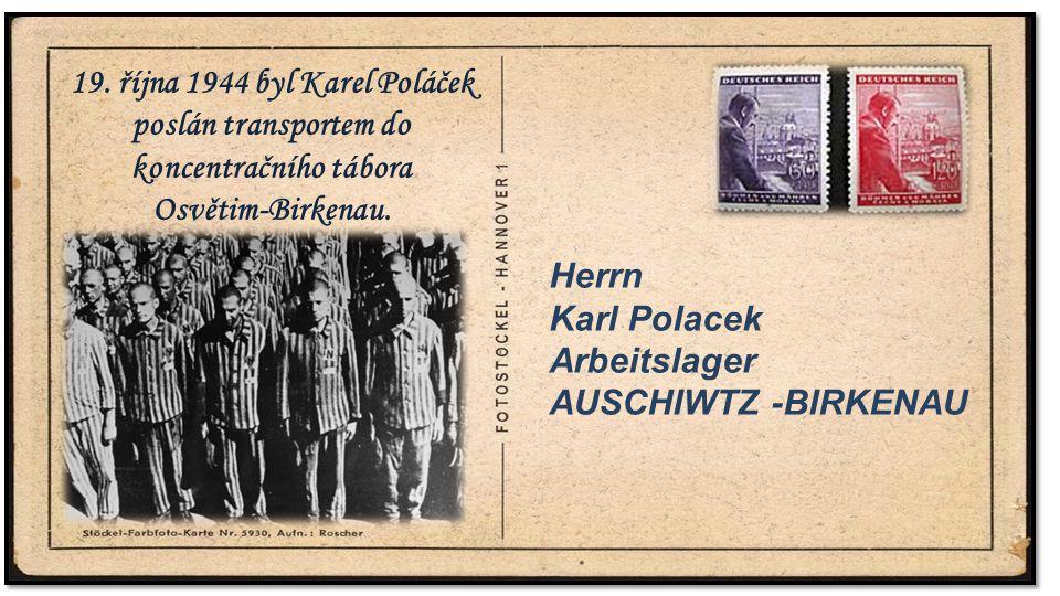 .. Herrn Karl Polacek Arbeitslager AUSCHIWTZ -BIRKENAU 19. října 1944 byl Karel Poláček poslán transportem do koncentračního tábora Osvětim-Birkenau.
