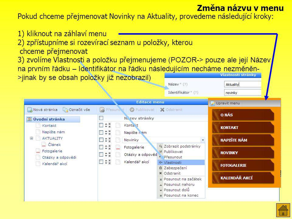 Základní nabídka obsahuje sekc e pro psaní článků (např.