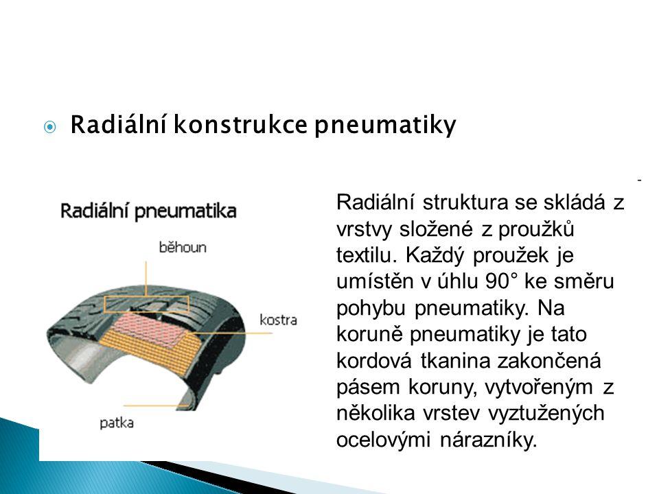  Radiální konstrukce pneumatiky Radiální struktura se skládá z vrstvy složené z proužků textilu. Každý proužek je umístěn v úhlu 90° ke směru pohybu