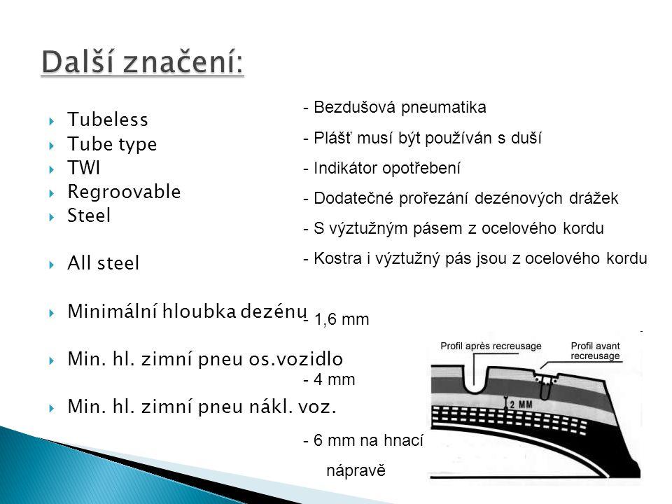  Tubeless  Tube type  TWI  Regroovable  Steel  All steel  Minimální hloubka dezénu  Min. hl. zimní pneu os.vozidlo  Min. hl. zimní pneu nákl.
