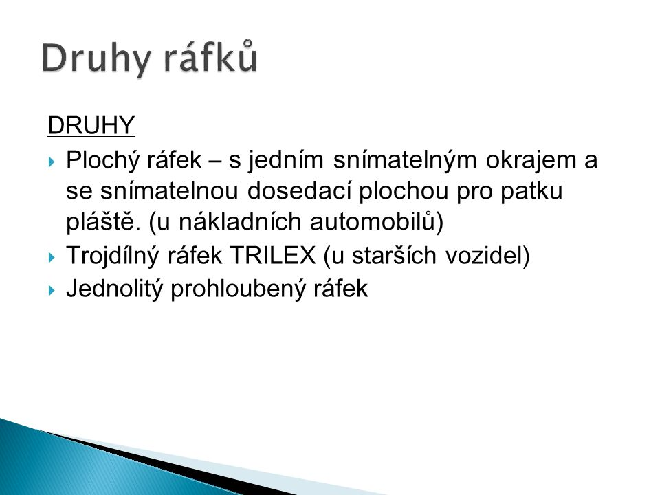  Trojdílný ráfek TRILEX (u starších vozidel)