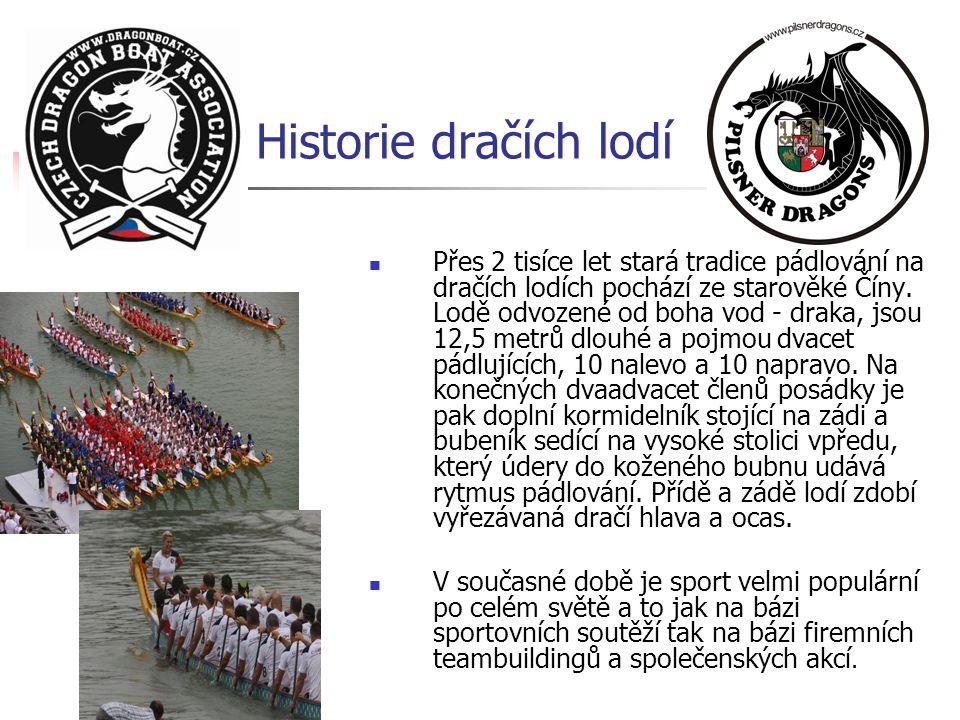 Historie dračích lodí  Přes 2 tisíce let stará tradice pádlování na dračích lodích pochází ze starověké Číny. Lodě odvozené od boha vod - draka, jsou