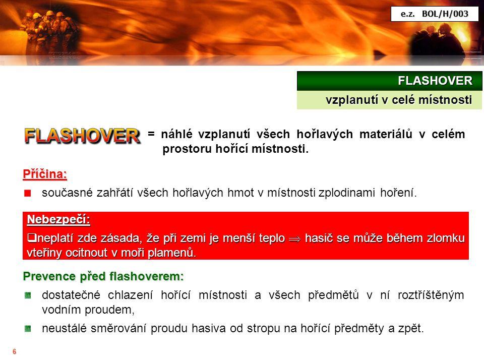 6 FLASHOVER vzplanutí v celé místnosti = náhlé vzplanutí všech hořlavých materiálů v celém prostoru hořící místnosti. Příčina: současné zahřátí všech