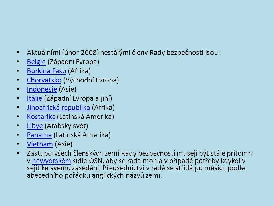 • Aktuálními (únor 2008) nestálými členy Rady bezpečnosti jsou: • Belgie (Západní Evropa) Belgie • Burkina Faso (Afrika) Burkina Faso • Chorvatsko (Vý