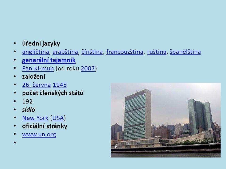 • úřední jazyky • angličtina, arabština, čínština, francouzština, ruština, španělština angličtinaarabštinačínštinafrancouzštinaruštinašpanělština • ge